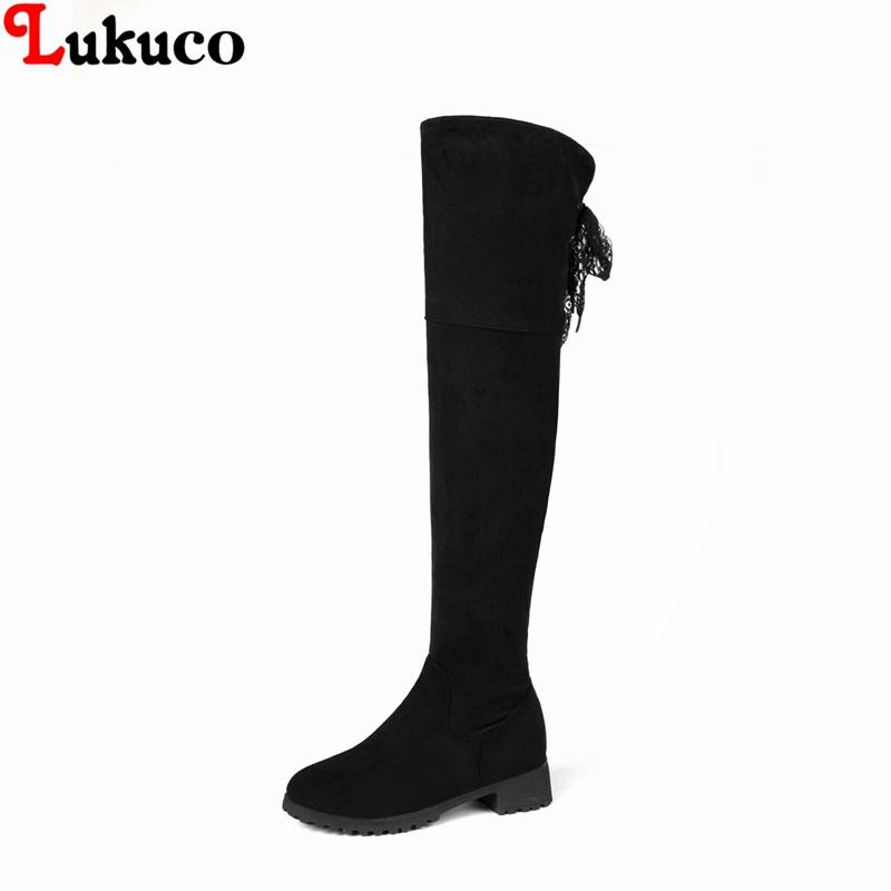 dc3d7892336dd 2018 Riding Botas Over The Knee Boots Low Heel Shoes Large Size 43 44 45 46  47 48 High Quality Handmade Short Plush Shoes Woman Peep Toe Booties Cat  Boots ...