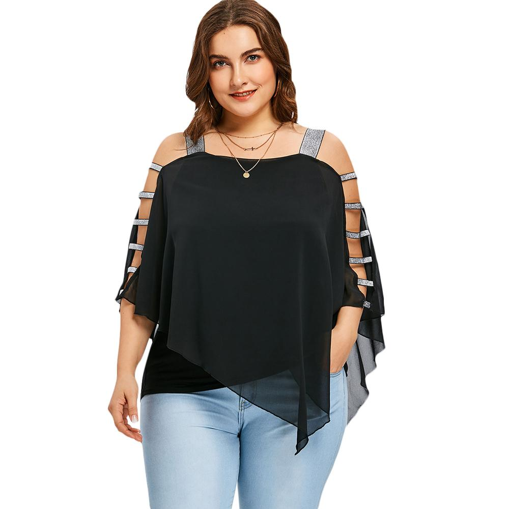 Gamiss Women Summer Asymmetric Blouses Plus Size Ladder Cut Overlay Blouse Shirts Three Quarter Square Neck Sparkly Female Tops