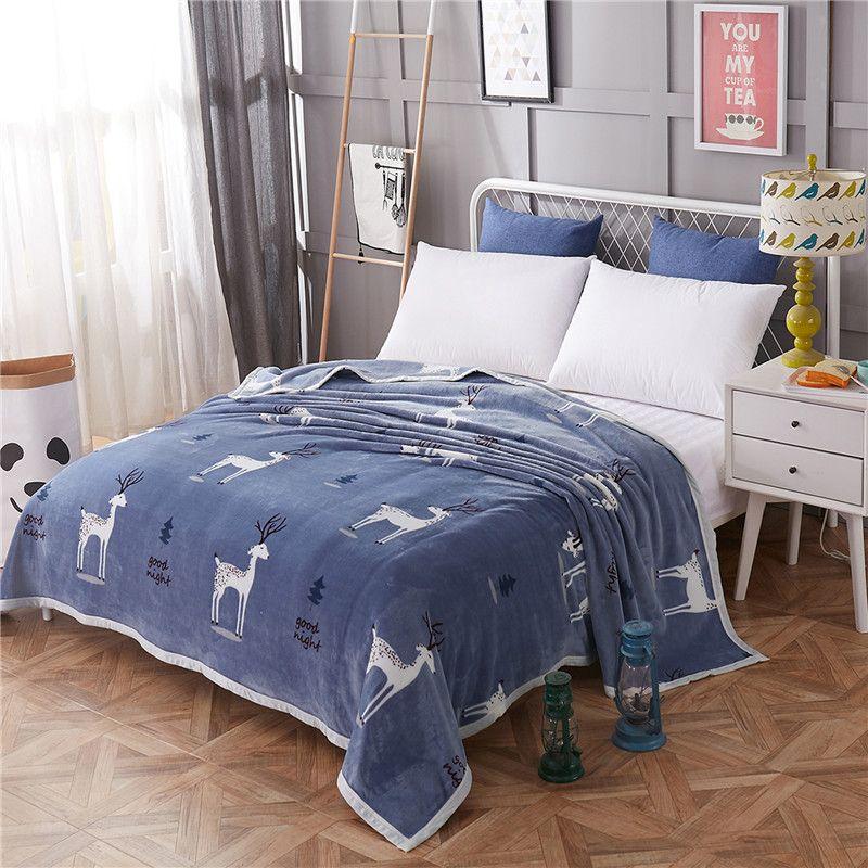 Deer Plant Tree Forest Fleece Blanket Blue Flannel Blankets Bed
