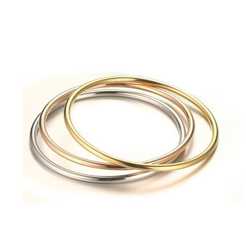 bb5995f8902d Whole SaleWomen Simple Design Round Bangle Three Colors Quality Stainless  Steel Gold Rose Gold Silver Plated Female Bangle Bracelet Bangle Designs In  Gold ...
