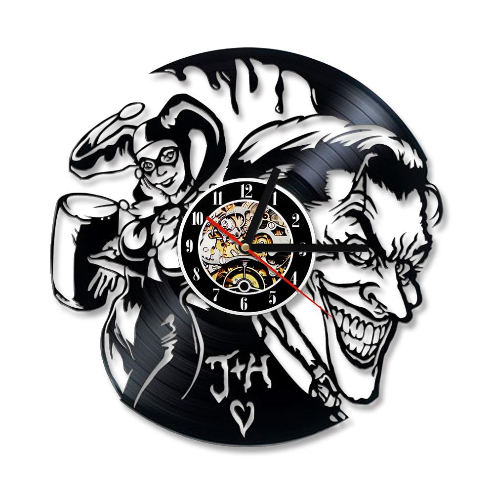Diy gift for clock joker en harley quinn vinyl wall clock decor modern decorative unique gift to your family for any occasion decorative wall clocks
