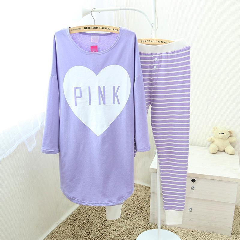af6aa4ec0b8b 2019 New Girl S Cute Pajamas Pijamas Set Purple Long Shirt Pants Home  Clothes Casual Sleepwear Silky Nightwear Suit Oversize XXXL From  Unclouded01