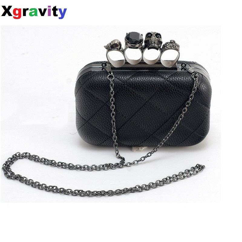 bb8219524f Drop Shipping European Sexy Ladies Clutch Bag Fashion Designer Chain  Shoulder Bags Women Retro Skull Ring Dinner Party Bag A006 Designer Handbags  Handbag ...