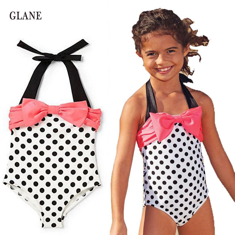 5d15cd5188 Girls Swimwear Mermaid Princess One Pieces Swimsuit Kids Dots ...