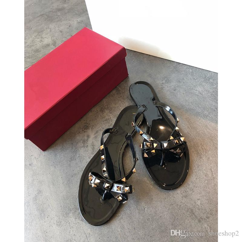 ed249352ca6f New Summer Women Flip Flops Slippers Flat Sandals Bow Rivet Fashion Pvc  Crystal Beach Shoes Leather Boots Cheap Boots From Shoeshop2