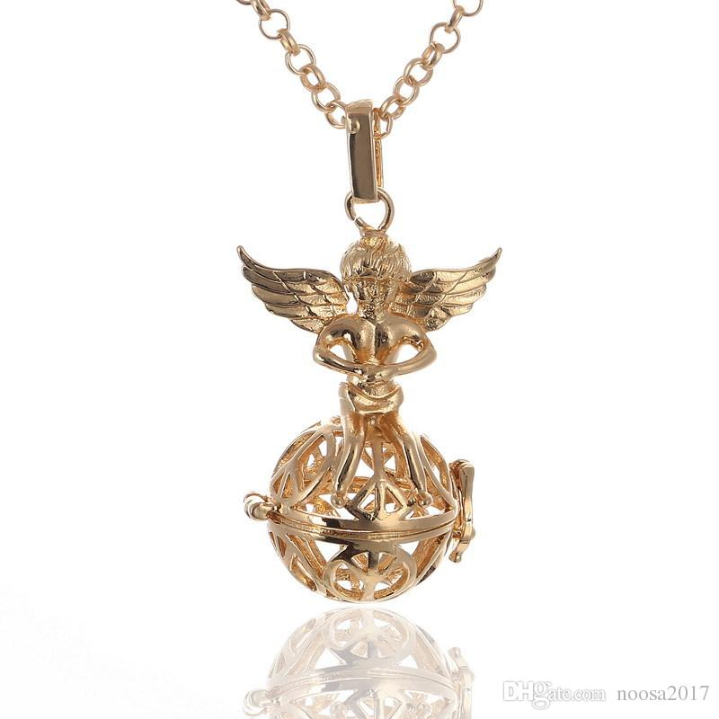 Mexican Bola Pendant Necklace Angel Callers Sound Chime Necklace harmony ball bell Peace tree angel wings Lockets silver gold white k choose