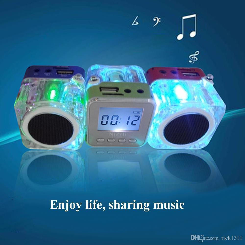 Nizhi TT-028 Portalble Speakers TT028 Subwoofer LED Crystal LCD Display Mini Music MP3 Player Loud Spearkers FM SD TF Card Christmas Gift