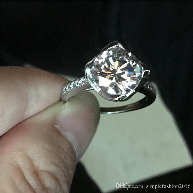 2017 Mode Fleur Style 925 Bague en argent Sterling 3ct Diamonique Diamant Cz Engagement Bague De Mariage bagues pour femmes hommes bijoux