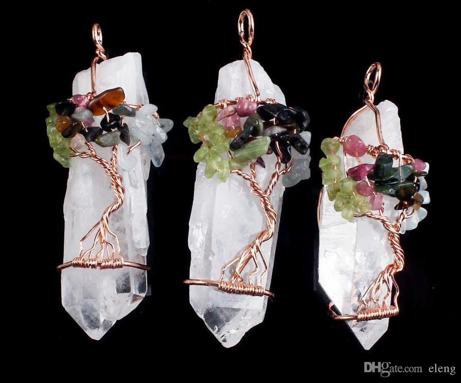 Pendants Necklace Chain Life Tree White Crystal Quartz Natural Stone Hexagon Prism Magic Reiki Charms Wicca Witch Amulet Jewelry no chain