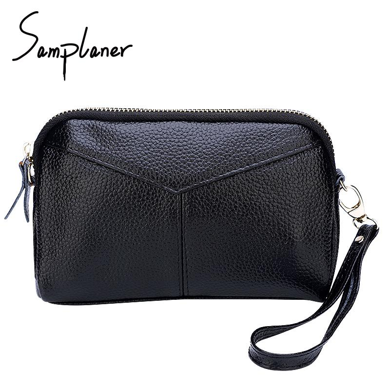 c077276a8c4 100% Genuine Leather Shell Women Clutch Bags Wristlet 2018 Small Ladies  Handbag Zipper Female Clutches For Money Phone Cosmetics
