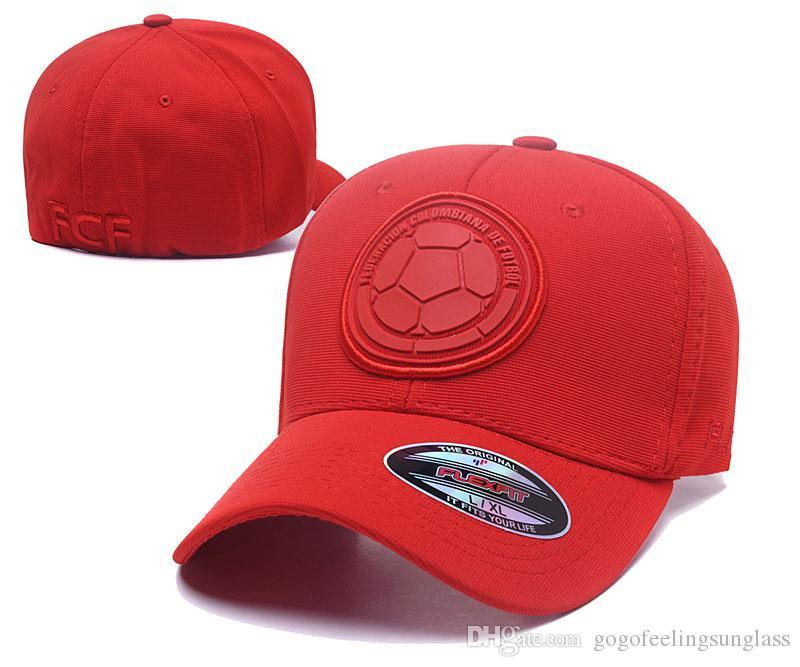 2019 Red Color Colombia Soccer Hat 6 Panel Sport Baseball Cap Full ... c8d28c56532
