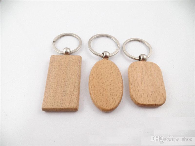 6designs فارغة خشبية مفتاح سلسلة مستطيل القلب جولة diy نحت كيرينغ الخشب المفاتيح علامات الهدايا