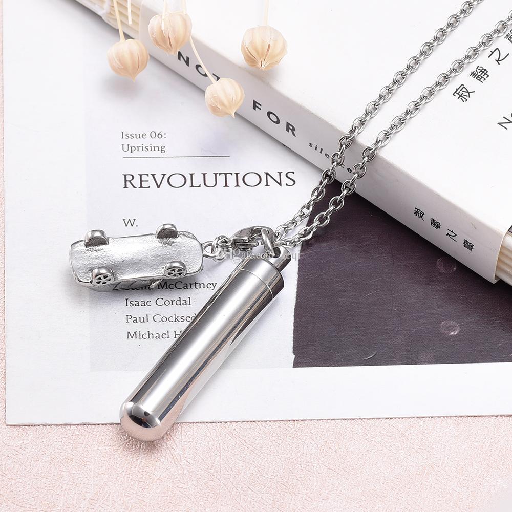 Cylindre creux avec des bijoux commémoratifs de crémation de forme de voiture pour la conception simple d'acier inoxydable de cendre