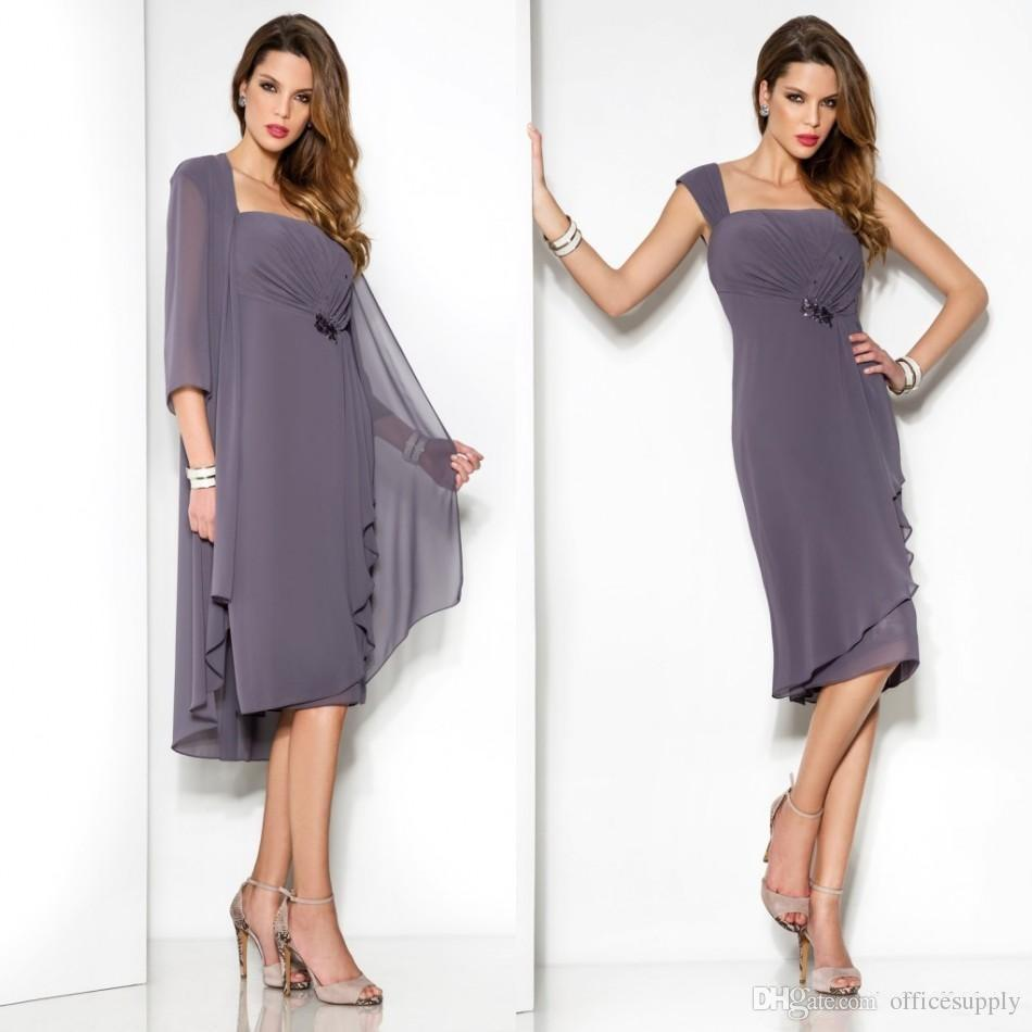bbbafe6a449 Simply Lilac Mother Of The Bride Dresses With Jackets New Ruffled Chiffon  Plus Size Knee Length Women Summer Cocktail Evening Dress Mother Of The  Bride ...