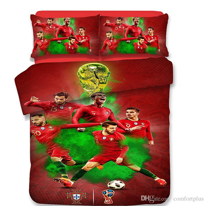 Country World Cup Football Pattern Set biancheria da letto 3PC Copripiumino Set di Copripiumino Federa doppia completa Queen King Size