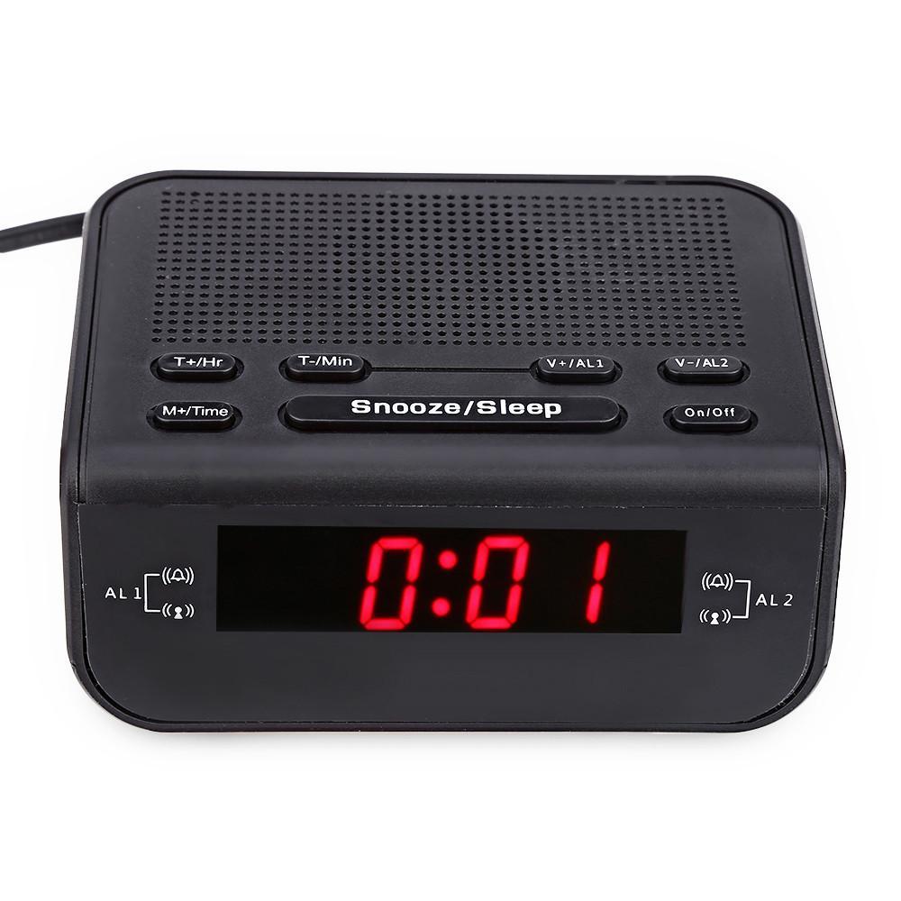 2017 Modern Design Alarm Clock FM Radio with Dual Alarm Buzzer Snooze Sleep Function Compact Digital Red LED Time Display Clocks05