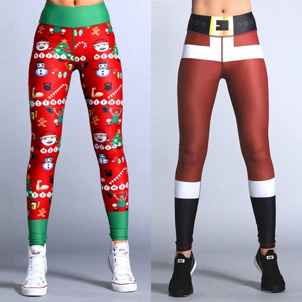 36444d7573b415 2019 Women Christmas Leggings Sportswear Casual Printed Elastic Fitness  Pants Fashion Female Slim Red Leggins Legins Jeggings From Deborahao, ...