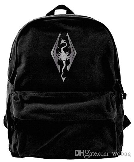 f5c623aea1 Skyrim Dragon Video Platinum Style Fashion Canvas Shoulder Backpack ...