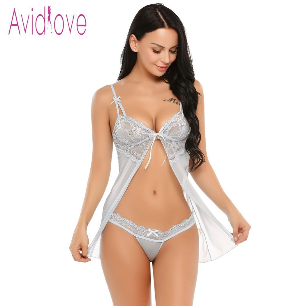 e731d5f9a2 Avidlove Transparent Lace Lingerie Sexy Erotic Hot Women Babydoll Chemise  Night Dress Underwear Nightwear Sex Costume Intimates Y18101601 Cheap Bra  And ...