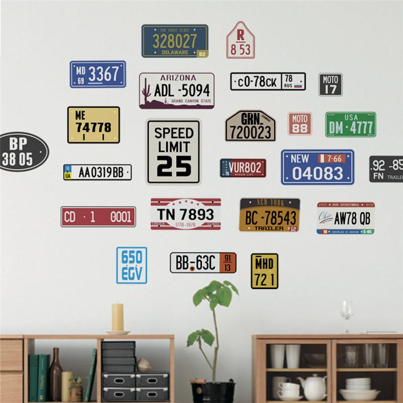 retro car license plate wall stickers decals vintage home decor