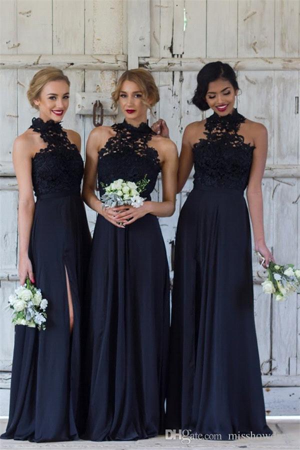 7dfd24148cf 2018 Elegant High Neck Lace Split Long Bridesmaid Dresses Chiffon Ruched  Formal Party Wedding Guest Maid Of Honor Dresses BA7430 Junior Bridesmaid  Dress ...