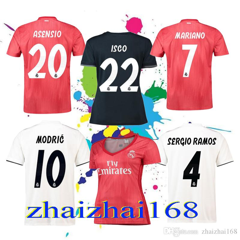 2019 New 18 19 Real Madrid Home Away Soccer Jerseys 2018 19 MODRIC ASENSIO  BALE KROOS ISCO Men And Women 3rd Football Shirts Mariano Jerseys From ... 8b9821c14e