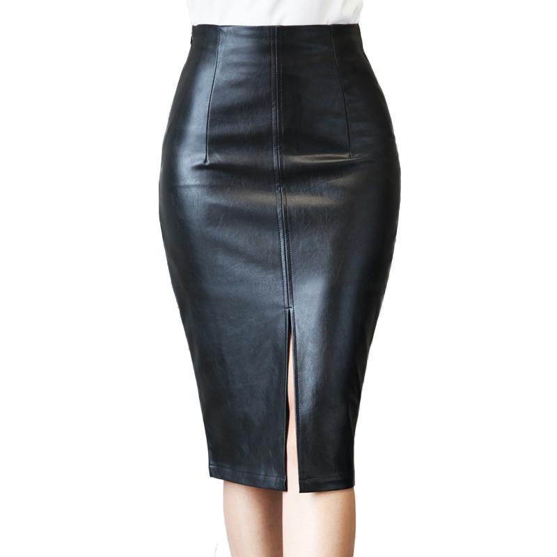 9bfcfca2ea4 2019 Plus Size S 4XL Leather Midi Skirt Winter 2019 Fashion Vintage ...