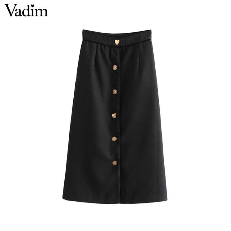 a469e334e 2019 Vadim Women Basic Black Straight Midi Skirt Faldas Mujer Buttons  Pockets Solid Female Casual Chic Mid Calf Skirts BA236 From Clothwelldone,  ...