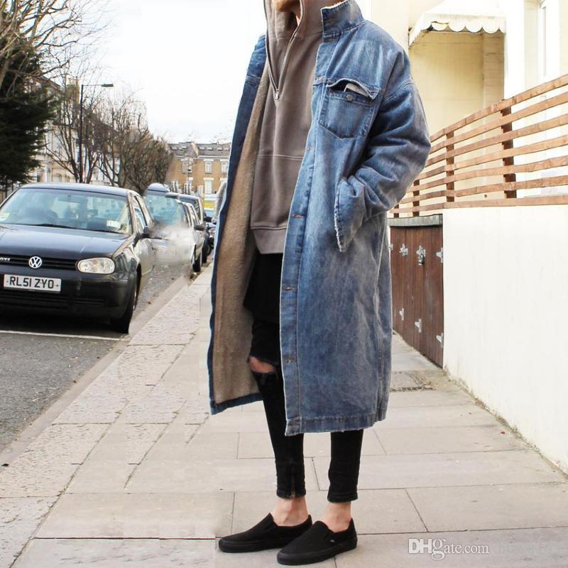 ad788d9de9fde 2019 Men S Sherpa Denim Long Coat Fear Of God Oversized Warm Jacket Men  Women Hip Hop Winter Streetwear Wool Overcoat Long Trench Coats BFSG1213  From ...