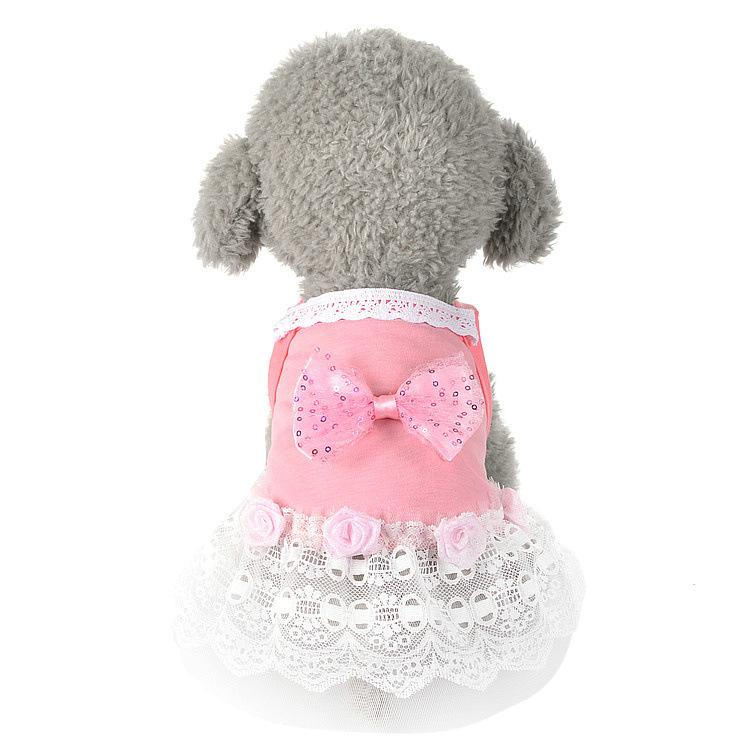Wholesale Luxury Pet Dog Clothes for Small Dogs Summer Dog Dress Lace Wedding Skirts Lovely Cat Dresses With Knotbow Pet Apparel 11ay28