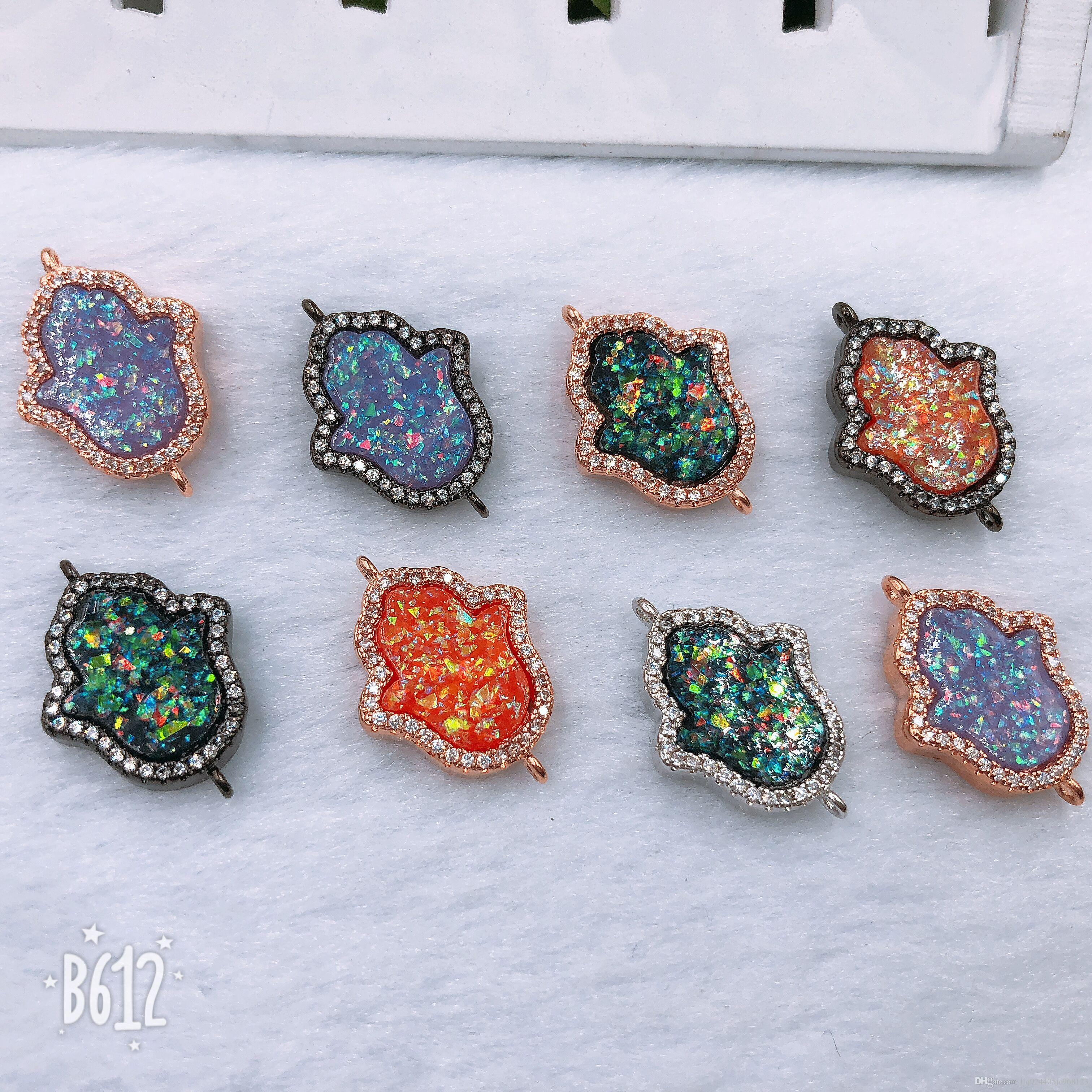 DIY New out 10 PSC Mix Colour Shell Inlay Zircon Rhinestone