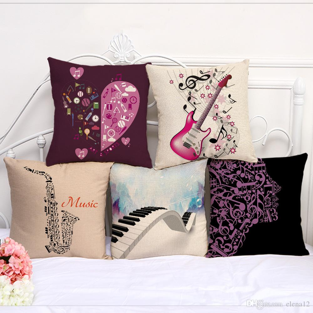 Musical Instrument Guitar Violin Note Pattern Pillow Case Cushion cover  linen cotton Throw Square Pillowcase Cover Decor Drop Ship