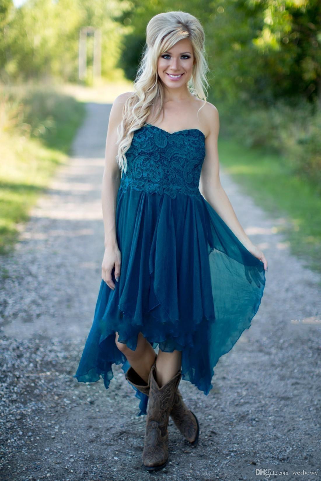 País Vestidos de dama de honor Cortos Hot Cheap For Wedding Teal Chiffon Beach Lace High Low Ruffles Party Maid Honor Gowns Under HY253