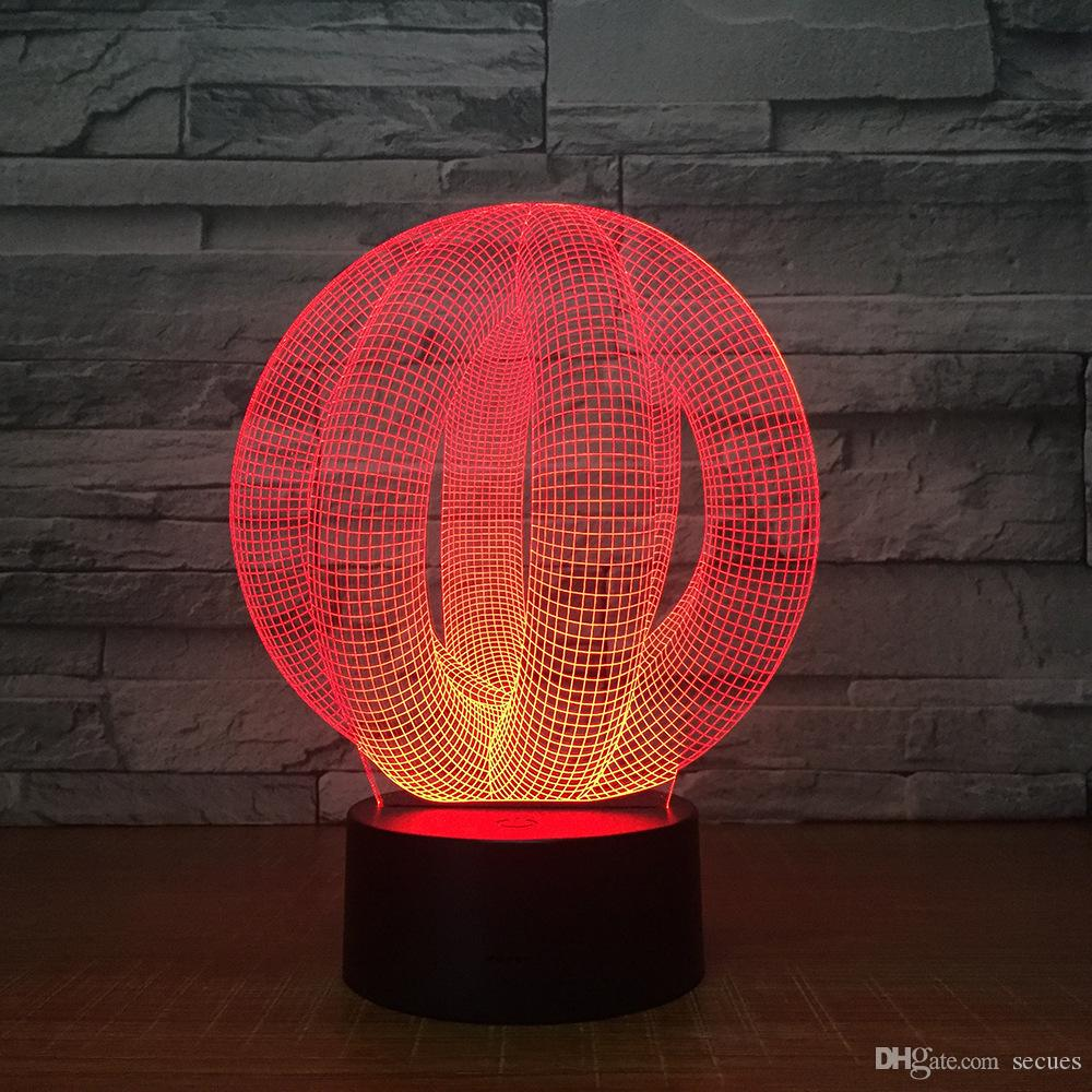 Illusion Ball 3D Illusion Night Lamp 3D Optical Lamp 5th Battery USB Powered 7 RGB Light DC 5V Wholesale