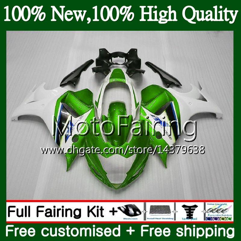 Cuerpo para SUZUKI KATANA GSXF 650 650F GSX650F 08 09 10 11 Verde blanco 12 13 32MF17 GSXF650 2008 2009 2010 2011 2012 2013 Fairing Bodywork