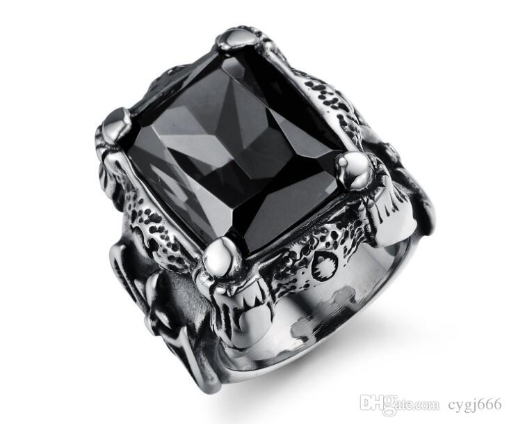 European and American domineering cast ring Titanium steel men's inlaid zircon ring