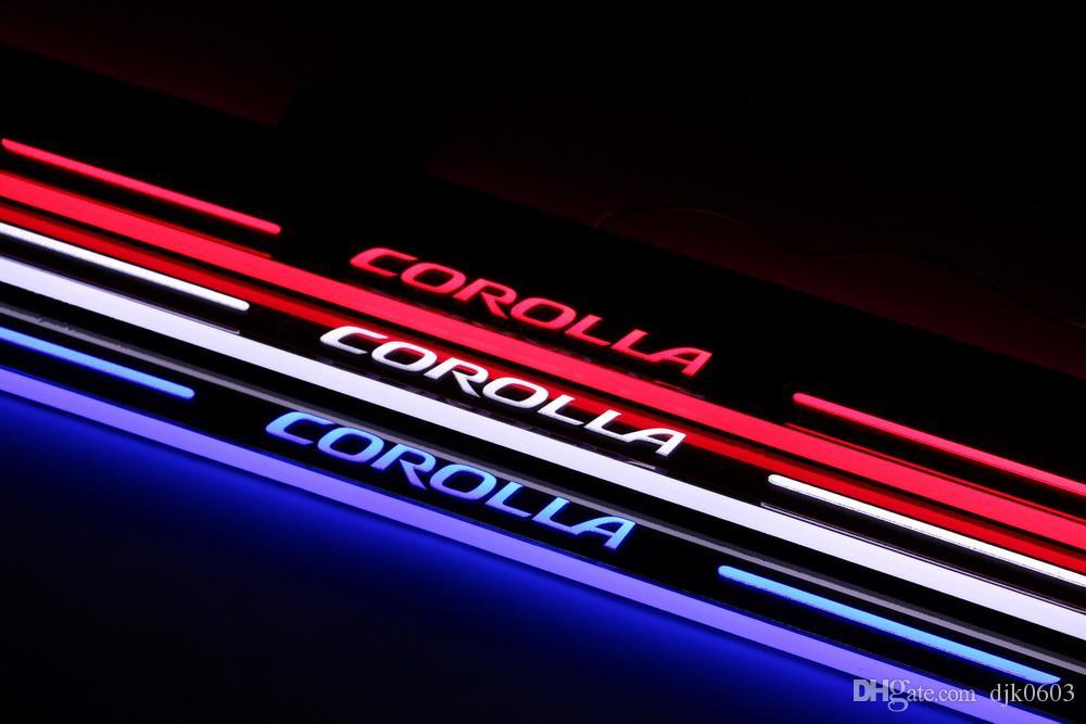 Pedale dello scuff leggero della luce LED Toyota Corolla 2014 2015 2016 acrilico dell'automobile pedale benvenuto principale del davanzale della porta