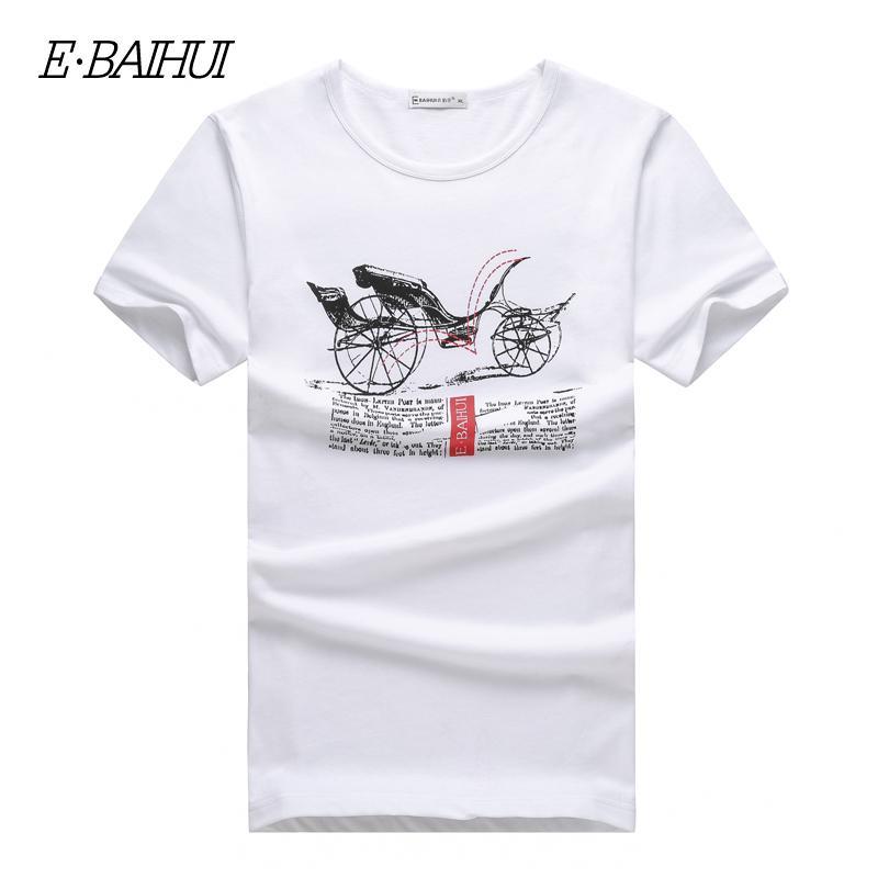 E BAIHUI Men T Shirt 2017 Summer Fashion T Shirts Slim Printed