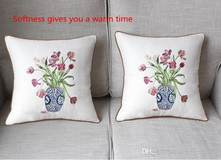 Home Textile Products Chinese Blue And White Porcelain Embroidery Sofa Waist Pillow Square Cotton Material
