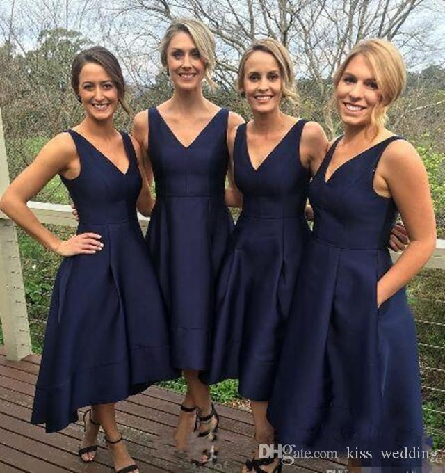 Vintage Womens Tea Length Bridesmaid Dresses With Pockets Navy Blue Satin Straps V-Neck Pleats Maid Of Honor Gowns Prom Custom Made