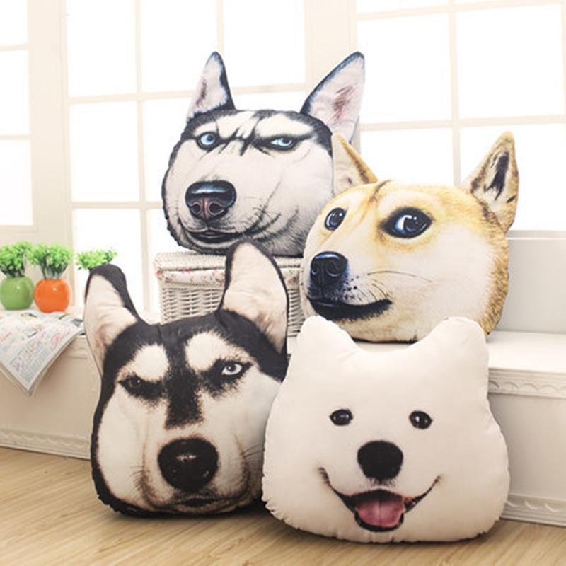 2019 Personality Creative 3d Big Dog Head Pillow Husky Plush Toys