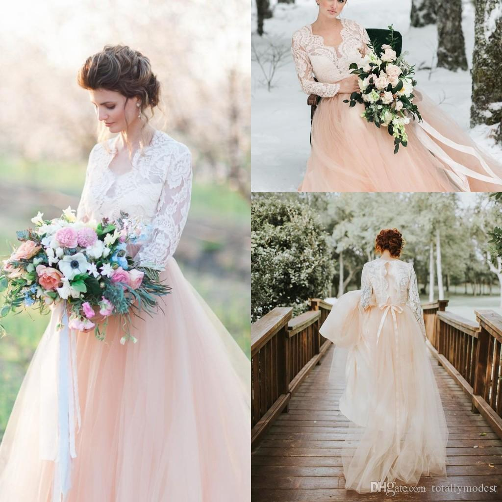 Discount V Neck Lace Tulle Boho Wedding Dresses 2018 With Long Lace Sleeves  Sheer Top Tulle Skirt Blushing Informal Outdoor Bridal Gowns Rustic White  ... 790578b617be