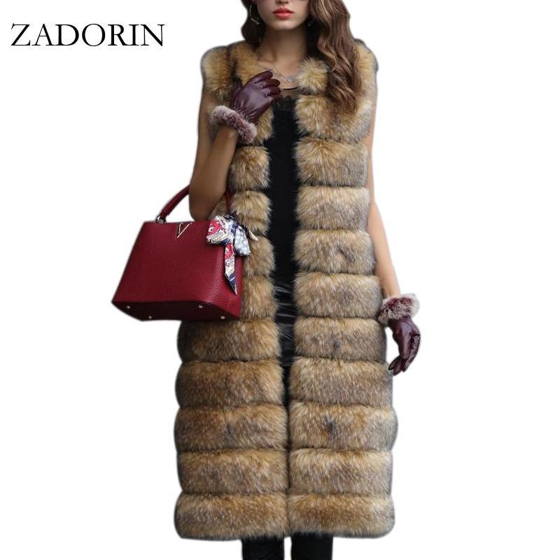 9ef5f2539 2019 Hot Faux Fur Sleeveless Jacket 2017 Winter Thicken Women Long ...