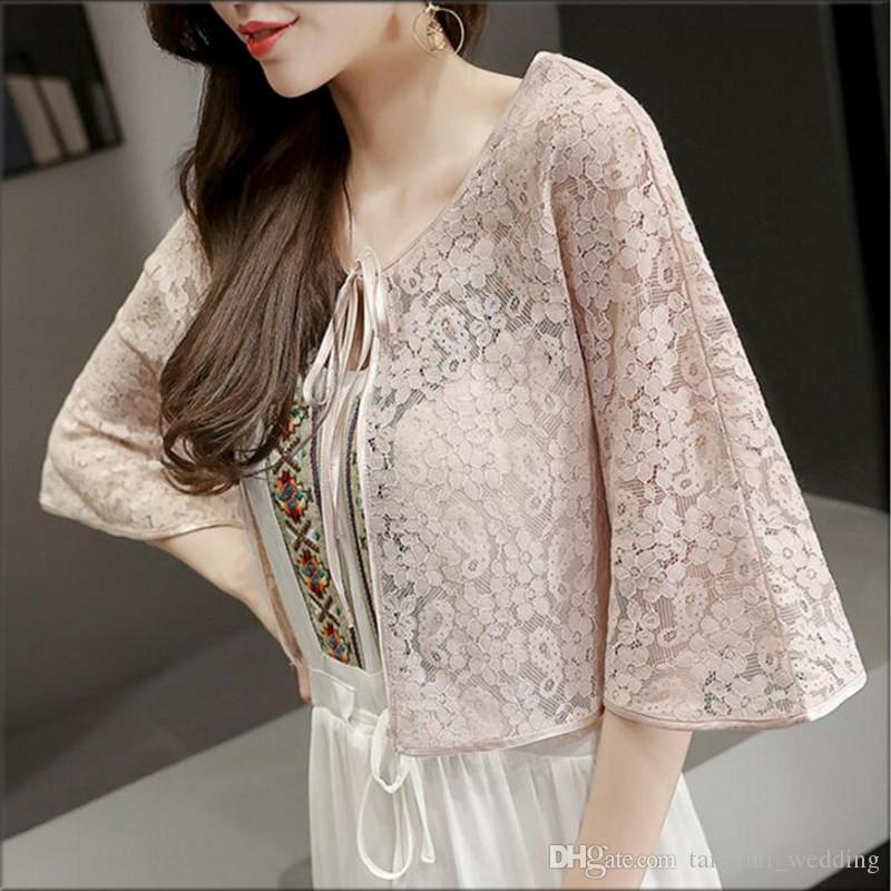 924893a3c 2019 Lace Bridal Wraps Wedding Bolero Thin Temperament Cardigan Women Shawl  Evening Capes Vintage Short Bridal Wrap For Dress From Tangfuti_wedding, ...