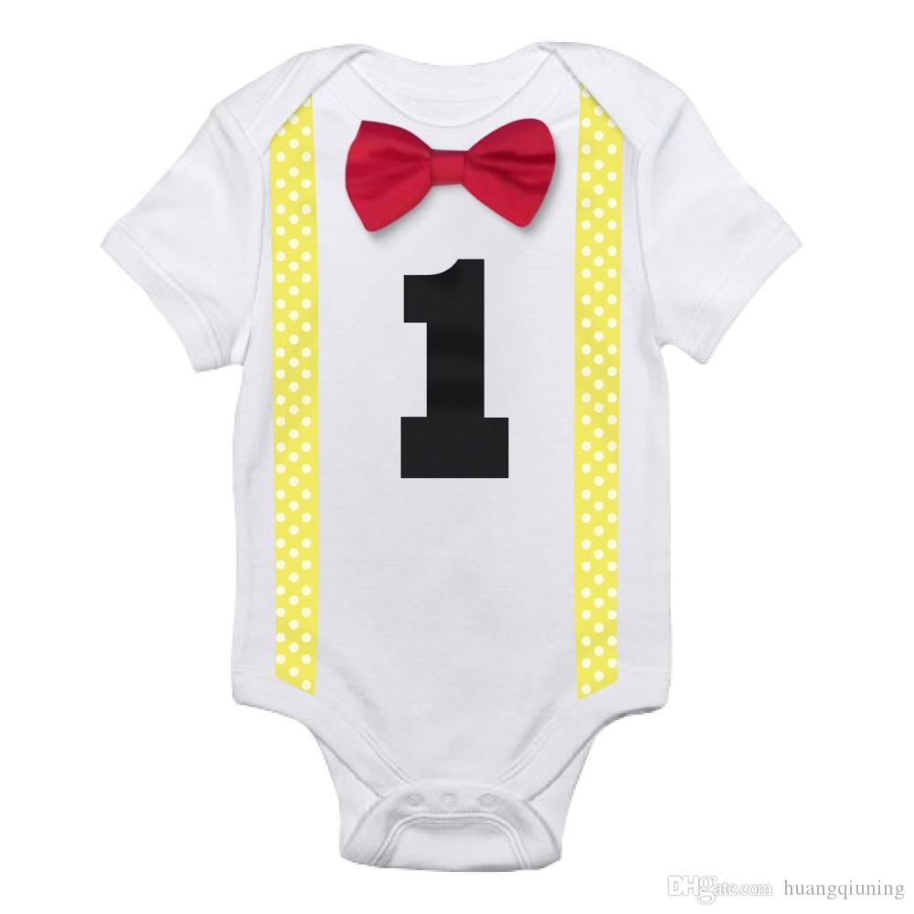 39165e7e2e7 2019 One Year Baby Boy Rompers Infant Boys Playsuit Clothes Bowknot Jumpsuit  Boys Summer Clothes Newborn White Romper For First Birthday Costume From ...