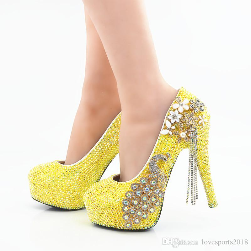 b6cbb1e27 2018 Handmade Beautiful Yellow AB Crystal High Heels Wedding Shoes Phoenix  Rhinestone Bridal High Heels Elegant Party Prom Wedding Shoes Online  Clothes ...