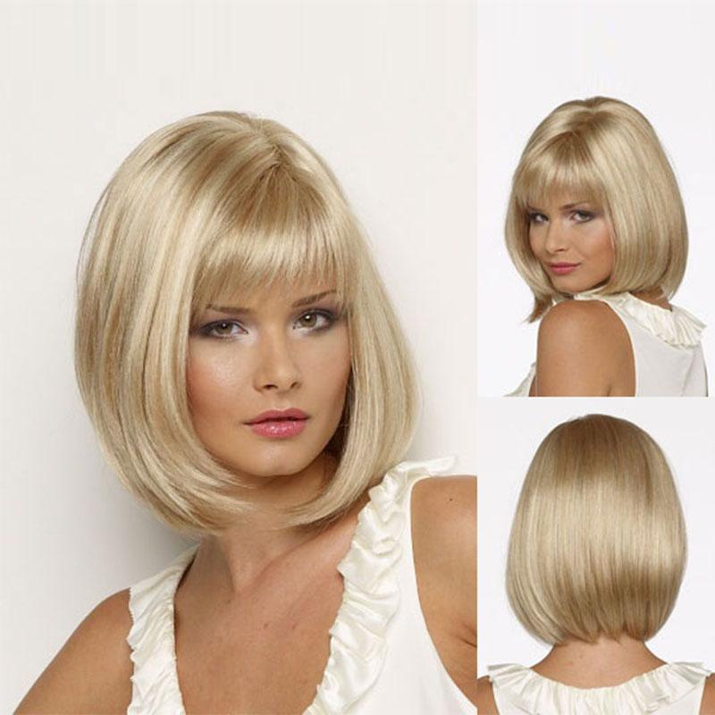 Picture Color Hair Classic Boy Cut Straight Bob Style Blonde Wig
