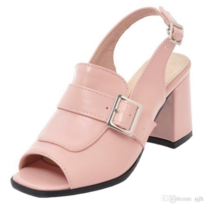 SJJH 2018 Woman Sandals with Peep Toe and Chunky Heel Elegant Style Shoes for Fashion Women with Large Size Available A300