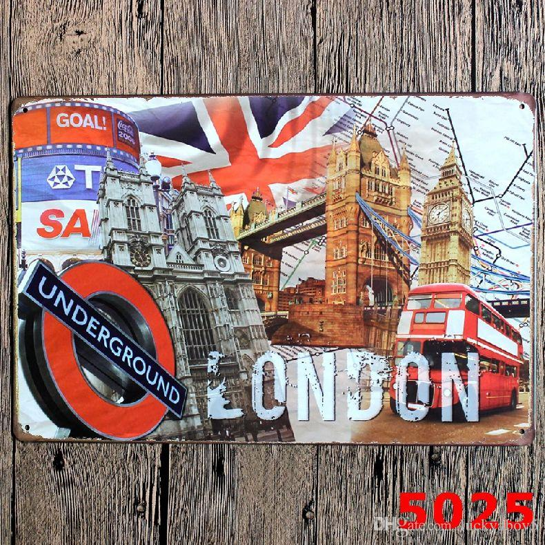LONDON UNDERGROUND Vintage Metal Signs Art Painting Home Bar Pub Scenery Wall Stickers Decoration Plates Craft Gift for Friend