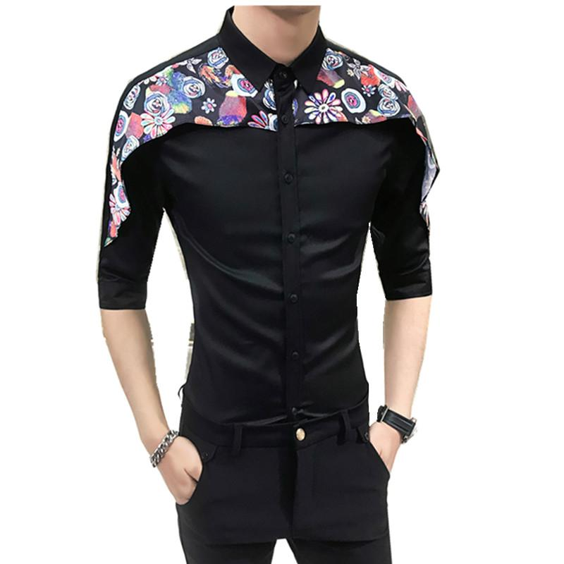 High Quality Tuxedo Shirt Men 2018 Summer Digital Print Patchwork Men's Social Shirts Dress Slim Fit Night Club Party Shirts Man